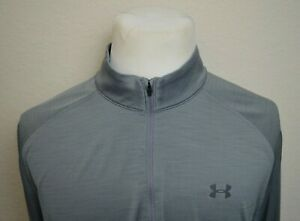 Under Armour Long Sleeve Men's Size XLT Tall 14 Quarter-Zip Shirt Gray Loose
