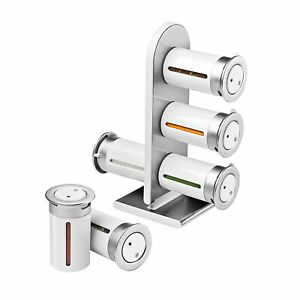Zevro KCH-06096 Zero Gravity Countertop Magnetic Spice Rack with Canister, Wh...