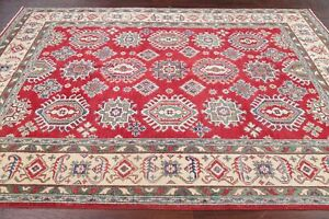 Geometric Super Kazak RED/IVORY Area Rug Hand-Knotted Bedroom Office Wool 6'x9'