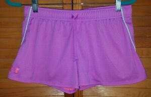 Girls UNDER ARMOUR HEAT GEAR Athletic Loose Fit Gym Shorts YXL XL Pink Purple
