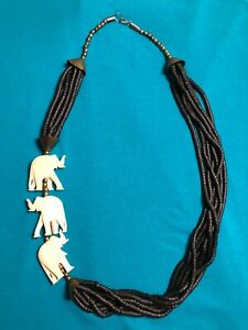 Vintage Ivory elephant Color Beaded Colored Animal Necklace $12.00