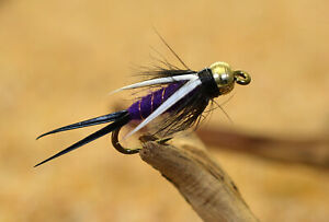 1 Doz Purple Prince Nymph Fishing Flies Mustad Signature Fly Hooks
