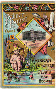 Chromolithographic menu for Palmer House Chicago May 10 1885 $265.00