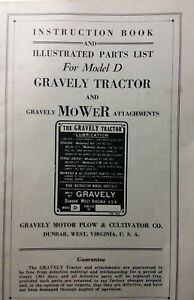 Gravely model D Walk-Behind Lawn Garden Tractor Owner & Parts Manual RARE FIND