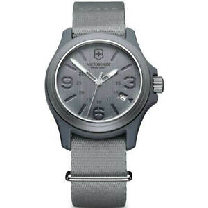 Victorinox Swiss Army Mens Watch Grey Dial Nylon Strap 241515 Official Dealer $79.99