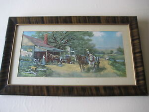 Vintage Copyrighted By F.M. Stone Blacksmith Shop Lithograph Print W Frame