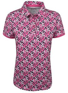 New Etonic Golf- Ladies Polo Magenta Abstract Floral Print Large ES19SS1