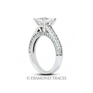 5 Carat D VS1 Radiant Cut Natural Certified Diamonds 950 Plat. Side Stone Ring