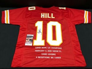 TYREEK HILL KANSAS CITY CHIEFS SIGNED CUSTOM JERSEY SUPER BOWL STATS JSA COA $103.98