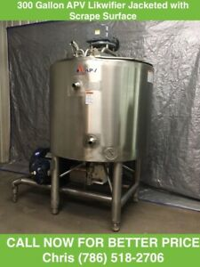 300 Gallon APV Likwifier Jacketed 75PSI with Scrape Surface Mixer on top
