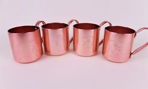 Smirnoff Moscow Mule Mugs Copper Plated Aluminum Set of 4 Used Camping Cups