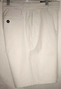 Under Armour UA Mens 36 Athletic Golf Shorts Solid Cream White Flat Front