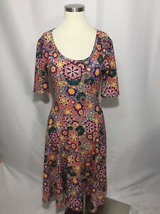 LulaRoe Colorful Kaleidoscope Floral Geo Nicole Fit Flare Stretch Dress M Nice!