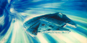 Star Wars Millennium Falcon in Hyperspace by Christopher Clark LE Giclee Canvas