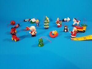 Lot of  20 Vintage Wooden Christmas Tree Ornaments Painted Holiday Decorations
