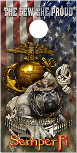 Marines Dog of War Flag Cornhole Wrap Bag Toss Skin Decal Sticker Wraps