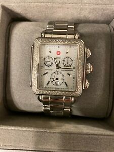 MICHELE DECO DIAMOND CHRONO STAINLESS MOP WRISTWATCH MW06P00A0046