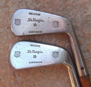 2 Matching St. Regis Antique Vintage Hickory Wood Shaft Golf Clubs