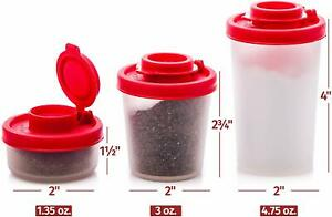Salt and Pepper Shakers with Red Lids Clear Plastic Airtight Spice Jar Dispenser