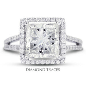 6.95ct D-SI1 Radiant Earth Mined Certified Diamonds 18k  Halo Side Stone Ring