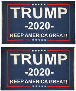 Trump 2020 Keep America Great! Blue Woven Poly Nylon Double Sided 3x5 3'x5' Flag