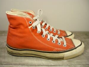 Vtg CONVERSE All Star Chucks Red All Star High Top Shoes Sneakers Men's Kicks 9