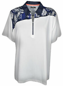 New Callaway Golf- Plus Size Tropical Floral Polo WhtDazzling Blue XLB