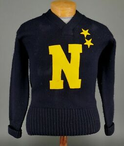 Vtg WWII US Naval Academy Midshipmen All American Football Named Captain Sweater