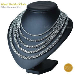 Stainless Steel Silver Wheat Braided Chain Bracelet Necklace Men Women 7quot; 38quot;