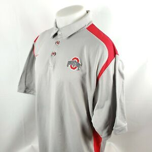 Nike Golf Mens Polo Shirt Sz XL SS Gray Red Ohio State Buckeyes Fit Dry A50-10