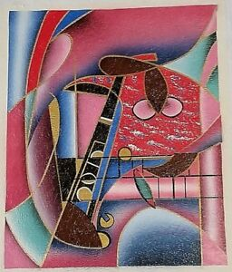 Abstract Painting Lithograph On Canvas Unstretched Artist Signed ART FINDS INT'L