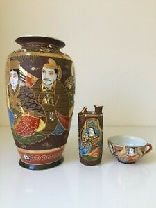 Hand Painted Antique Set Japanese Moriage Satsuma Vase and Pot with Kutani Cup