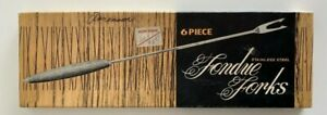 Stainless Steel Fondue Forks Vintage Set of 6 With Wooden Handles Colored Ends