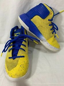 UNDER ARMOUR Wardell SC Youth BlueYellow High Top Shoes Sneakers Boys Size 13k