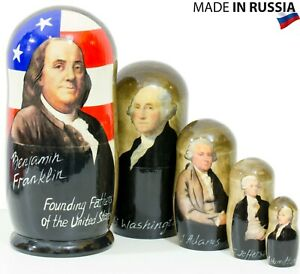 Nesting Doll quot;Founding Fathers of the United Statesquot; 675`` 5 dolls in1