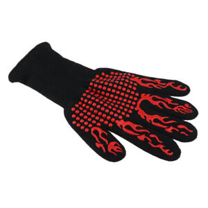 Heat Resistant BBQ Gloves for Barbecue, Baking, Outdoor Cooking, Red Flame