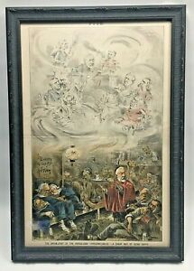"Original Puck Chromolithograph ""The Opium Joint"" Framed in Conservation Glass $149.00"