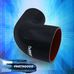 2.75quot; To 2quot; 90 Degree Angle Black Reinforced Silicone Coupler Hose Piping Intake $13.99