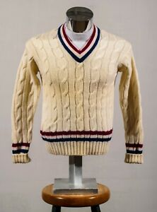 VTG Norwegian 100% Wool Navy Burgundy Stripe Classic V Neck Cricket Sweater Sz L