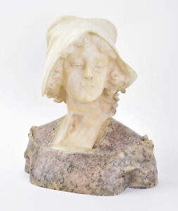 19th 20th C. Italian Marble Bust Sculpture Beautiful Young Woman Wearing Cap $795.00