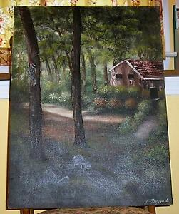 VINTAGE CABIN FOREST TREES GRAY SQUIRRELS LANDSCAPE NATURE WOODPECKER PAINTING