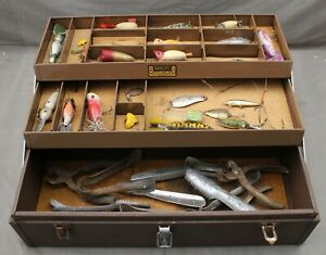 Kennedy Kits T-18 Tackle Box Wooden Lures Heddon Sonic Speedscaler Fish Fishing
