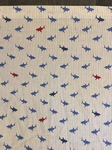 TOMMY HILFIGER Shark Attack TWIN Flat And Fitted Sheets EUC