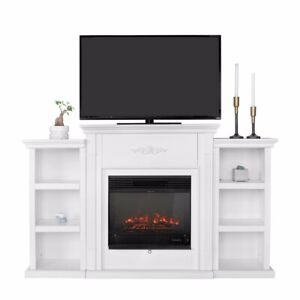Freestanding Mantel Bookcases TV Stand with Electric Fireplace, White Ivory