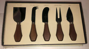 Pottery Barn Rustic Wood Handle Cheese Knife Serving Set Italian Forged Steel
