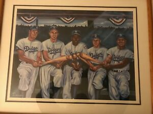 Brooklyn Dodgers greats signed Lithograph