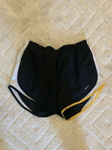 NIKE driFIT Livestrong Black White Lined Athletic Running Shorts Womens Medium
