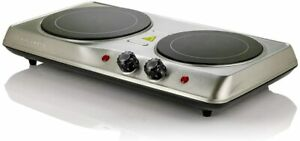 Ovente Electric Glass Infrared Burner 7 Inch Double Hot Plate Silver BGI102S