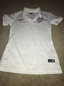 Nike US National Team Soccer Dri Fit Jersey White Polo Shirt Women's Sz S 2014