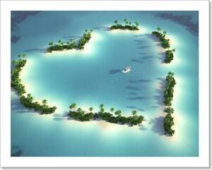 Aerial View Of Heart-Shaped Island Art Print Home Decor Wall Art Poster - C